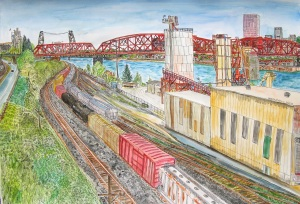"Broadway Bridge, Portland, Oregon, May 2013, ink and watercolor, 30""X22"""