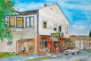 """Black Cat Tavern, East Portland, Oregon, August 2013, ink and watercolor, 22""""X15"""""""
