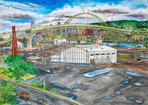 "Fremont Bridge, Portland, Oregon, August 2013, ink and watercolor, 30""X22"""