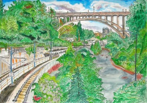 Vista Avenue Bridge, NW Portland, Oregon, August 2013, ink and watercolor, 22