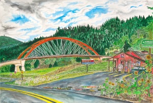 "Sauvie Island Bridge, East Portland, Oregon, September 2013, ink and watercolor, 22""X15"""