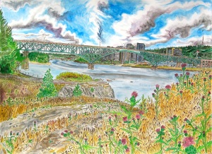 Ross Island Bridge, Portland, Oregon, September 2013, ink and watercolor, 30