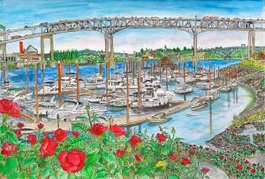"Marquam Bridge, Portland, Oregon, September 2013, ink and watercolor, 22""X15"""