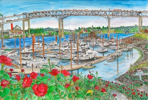 Marquam Bridge, Portland, Oregon, September 2013, ink and watercolor, 22