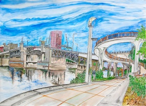 "Morrison Bridge, Portland, Oregon, September 2013, ink and watercolor, 30""X22"""