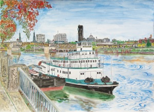 Burnside Bridge, Portland, Oregon, October 2013, ink and watercolor, 30