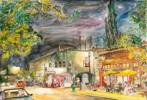 """Alberta Rose Theater, East Portland, Oregon, October 2013, ink and watercolor, 22""""X15"""""""