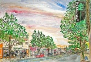 "Woodstock, East Portland, Oregon, May 2014, ink and watercolor, 22""X15"""