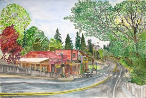"""Hillsdale Center, SW Portland, Oregon, May 2014, ink and watercolor, 22""""X15"""""""