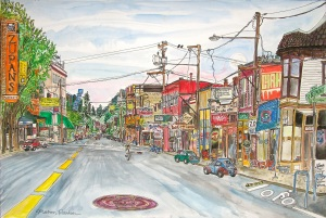 "SE Belmont Street, East Portland, Oregon, May 2014, ink and watercolor, 22""X15"""
