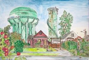 "Willamette Avenue Water Towers, East Portland, Oregon, June 2014, ink and watercolor, 22""X15"""