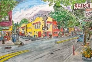 "Proper Eats and Saint Johns Theater, East Portland, Oregon, June 2014, ink and watercolor, 22""X15"""
