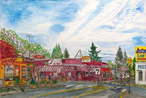 """Bertie Lou's and Jake's Place, East Portland, Oregon, June 2014, ink and watercolor, 22""""X15"""""""