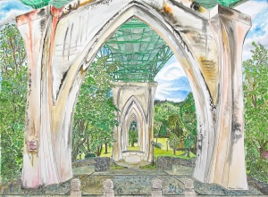"""Cathedral Park, East Portland, Oregon, June 2014, ink and watercolor, 30""""X22"""""""