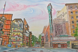Intersection of SW Broadway and Main Street, SW Portland, Oregon, June 2014, ink and watercolor, 22