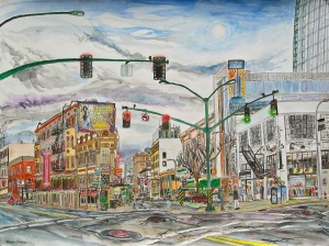 """Crystal Hotel and Jake's, West Portland, Oregon, June 2014, ink and watercolor, 30""""X22"""""""