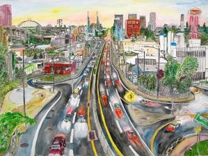 "McGloughlin Avenue, East Portland, Oregon, July 2014, ink and watercolor, 30""X22"""