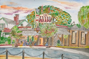 """The Alibi, East Portland, Oregon, September 2014, ink and watercolor, 22""""X15"""""""