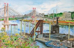"Tilikum Crossing Bridge of the People, Portland, Oregon, October 2014, ink and watercolor, 22""X15"""