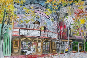 """Star Theater, West Portland, Oregon, October 2014, ink and watercolor, 22""""X15"""""""
