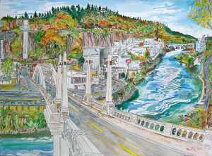 Entering Oregon City, Oregon City, Oregon, October 2014, ink and watercolor, 30
