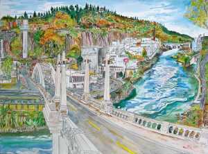 """Entering Oregon City, Oregon City, Oregon, October 2014, ink and watercolor, 30""""X22"""""""