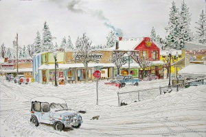 "Intersection of Jefferson and Bridge Street, Vernonia, Oregon, February 2015, ink and watercolor, 22""X15"""