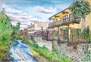 "Balconies at Silver Creek, Silverton, Oregon, May 2015, ink and watercolor, 22""X15"""