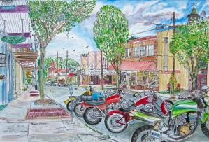 "Water Street, Silverton, Oregon, June 2015, ink and watercolor, 22""X15"""