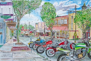 Water Street, Silverton, Oregon, June 2015, ink and watercolor, 22