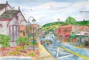 Bridge Street, Sheridan, Oregon, June 2015, ink and watercolor, 22