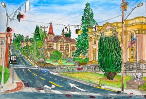 Intersection of Commercial and 8th Street, Astoria, Oregon, July 2015, ink and watercolor, 22
