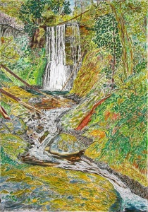 """Ecola Falls, Columbia River Gorge Scenic Area, Oregon, July 2015, ink and pastels, 22""""X30"""""""