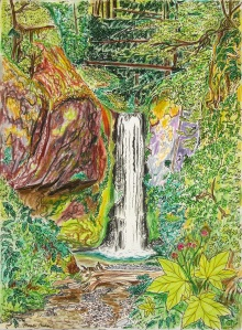 """Weisendanger Falls, Columbia River Gorge Scenic Area, Oregon, July 2015, ink and pastels, 11""""X15"""""""