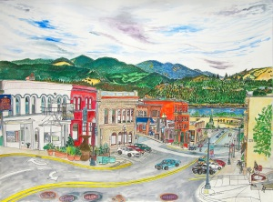 """Downtown Hood River, Hood River, Oregon, July 2015, ink and watercolor, 30""""X22"""""""