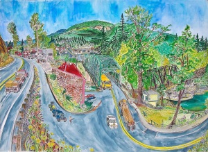 """Entering Mill City, Mill City, Oregon, July 2015, ink and watercolor, 30""""X22"""""""