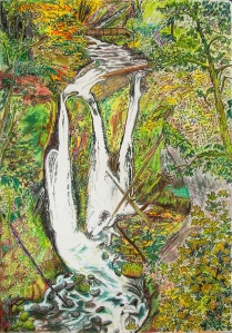 "Triple Falls, Columbia River Gorge Scenic Area, Oregon, ink and pastels, 11""X15"""