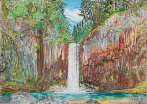 Abiqua Falls, Scotts Mills, Oregon, ink and pastels, 30″X22″ (k.w. oregon waterfalls, scotts mills, abiqua creek, abiqua falls)