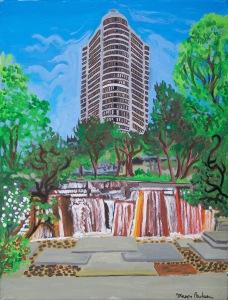Ira Keller Fountain, SW Portland, Oregon, acrylic on canvas, 18″X24″ (k.w. portland, oregon, ira keller fountain)