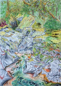 Class 6 Gorge at Mill Creek, Dallas, Oregon, ink and pastels, 15″X22″