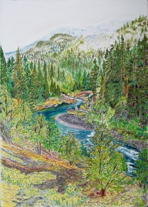 Clackamas River Narrows, Mount Hood National Forest, Oregon, ink and pastels, 15″X22″ (k.w. oregon, highway 224, clackamas river, the narrows)