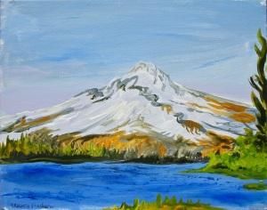 "View From Timothy Lake, Timothy Lake, Oregon, April 2015, acrylic on canvas, 20""X16"", $600"