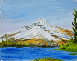 "View From Timothy Lake, Timothy Lake, Oregon, April 2015, acrylic on canvas, 20""X16"", $600"