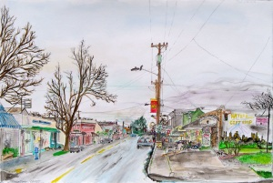 """Intersection of SE 13th and Tacoma Avenue, SE Portland, Oregon, January 2007, ink and watercolor, 22""""X15"""""""