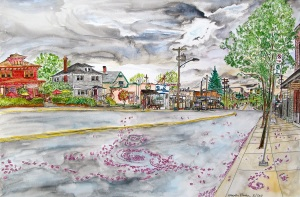 "SE Bybee Street, SE Portland, Oregon, ink and watercolor, May 2011, 22""X15"""