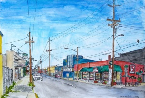 """Flying Pie Corner, SE Portland, Oregon, May 2011, ink and watercolor, 22""""X15"""""""