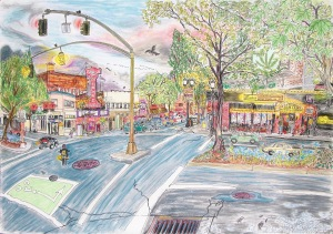 Intersection of West Burnside and SW 2nd Avenue, Portland Oregon, ink and pastels, 30″X22″ (k.w. portland oregon, dante's, voodoo doughnuts, burnside)