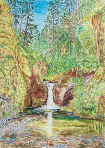 "Upper Punchbowl Falls, Columbia River Gorge, Oregon, ink and pastels, 22""X30"""