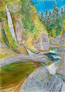 Pools at Loowitt Falls, Columbia River Gorge, Oregon, ink and pastels, 22″X30″ (k.w. oregon waterfalls, columbia river gorge, eagle creek, loowitt falls)