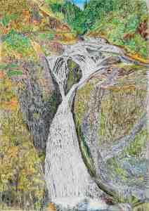 Twister Falls, Columbia River Gorge, Oregon, ink and pastels, 22″X30″ (k.w. oregon waterfalls, columbia river gorge, eagle creek, twister falls)